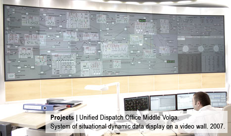 Unified Dispatch Office Middle Volga. System of situational dynamic data display on a video wall. 2007.